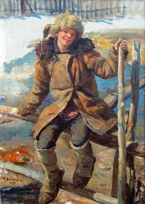 Шапка-ушанка, популярная у крестьян.