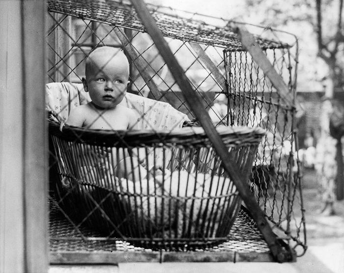 Клетка для малыша. Ретро-снимок.