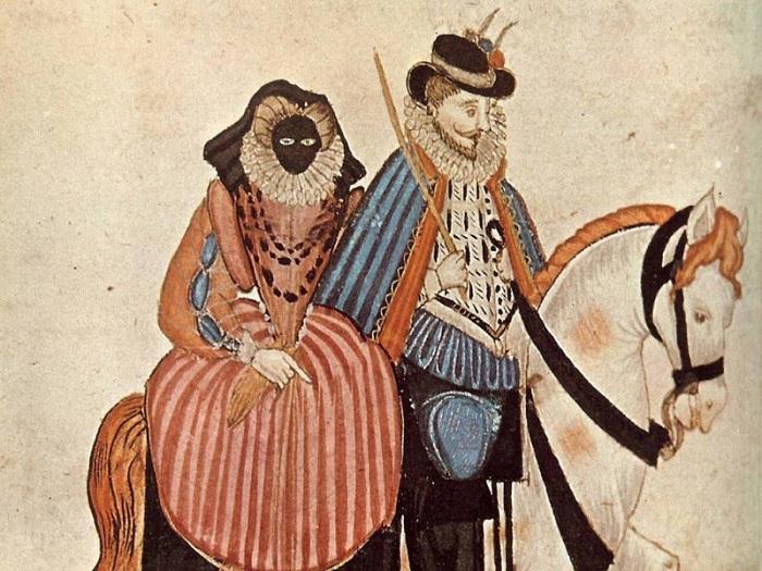 Маска, предотвращающая солнечный загар в 16 веке.