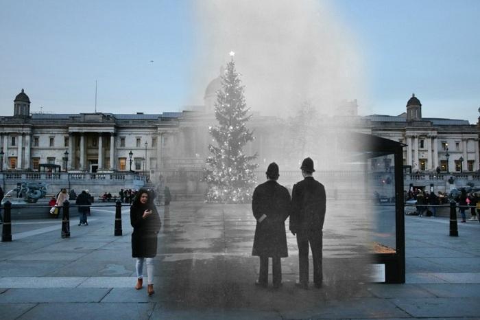 В преддверии Рождества: снимок Лондона сегодня и много лет назад.