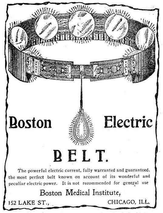 Электрический пояс - популярное приспособление в конце XIX века.