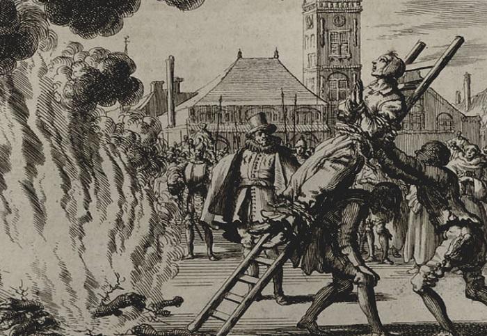 Гравюра 1571 года. Сожжение ведьмы.