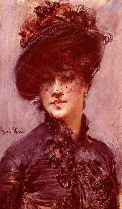 Леди в черной шляпке.  Джованни Болдини, 1898 год. | Фото: allaboutourladies.ru.