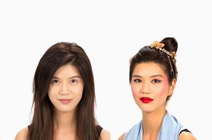 Девушка с типичным макияжем гейш прошлого.