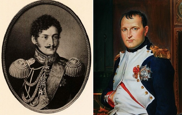 Слева: граф Александр Чернышев, справа: Наполеон Бонапарт.