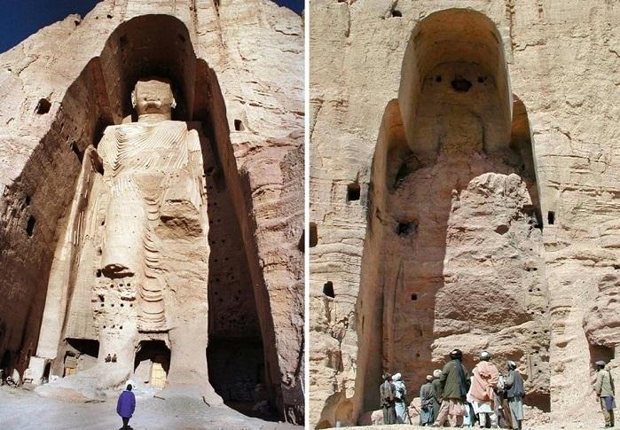Статуя Будды в Бамианской долине и то, что от нее осталось после взрыва противотанковых мин