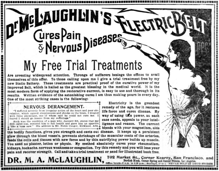 Популярная реклама 1880-х годов - «Пояс доктора Маклафлина.»
