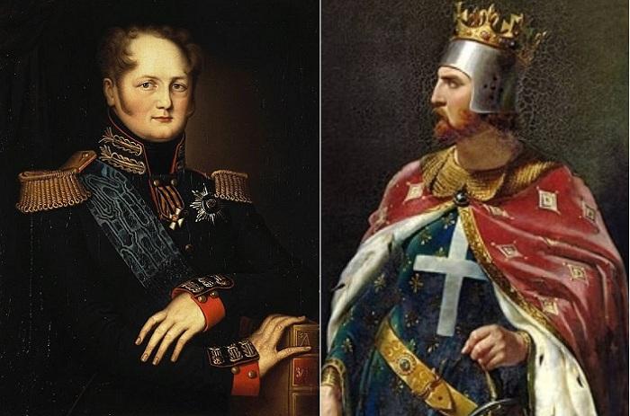 Слева: российский император Александр I, справа: английский король Ричард Львиное Сердце.