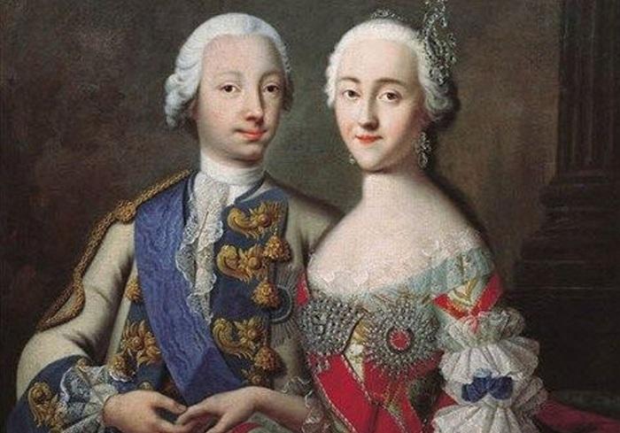 Российский император Петр III и его жена Екатерина II.