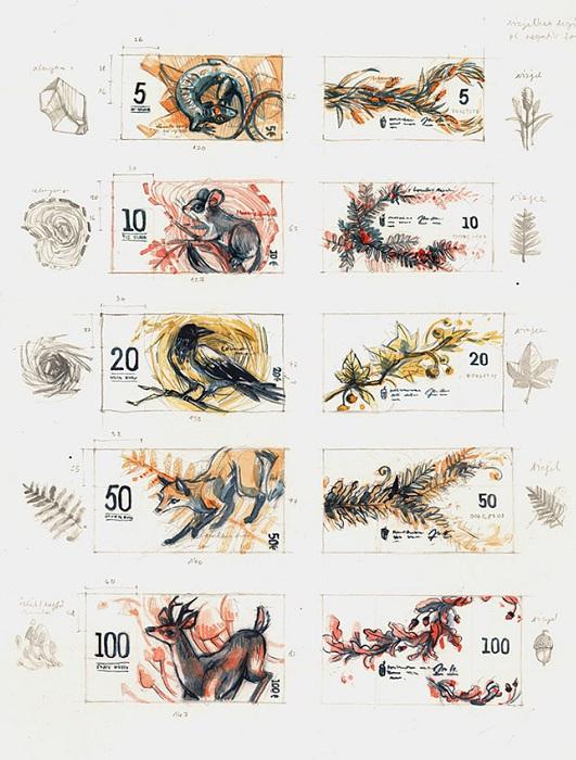 Евровые банкноты и изображением птиц и животных.