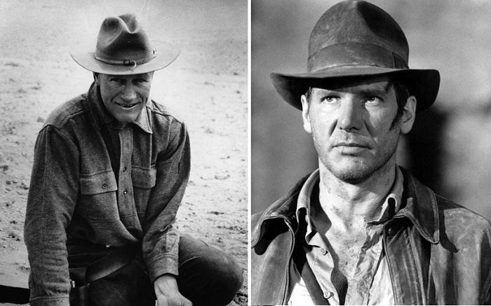 Американский искатель приключений Рой Чэпмен Эндрюс и Харрисон Форд в роли Индианы Джонса.