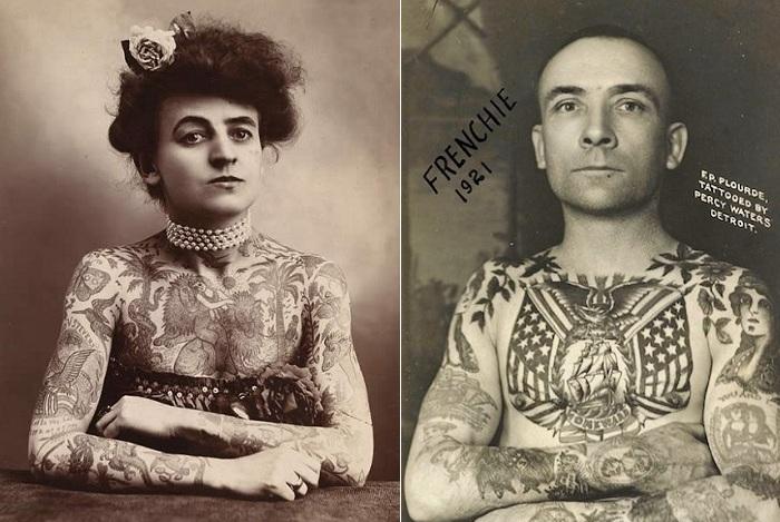 Ретро-фотографии любителей татуировок.