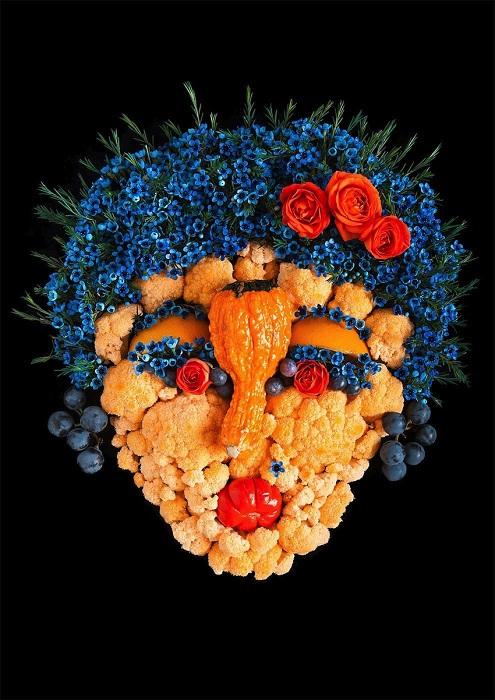 Женское лицо из цветной капусты.