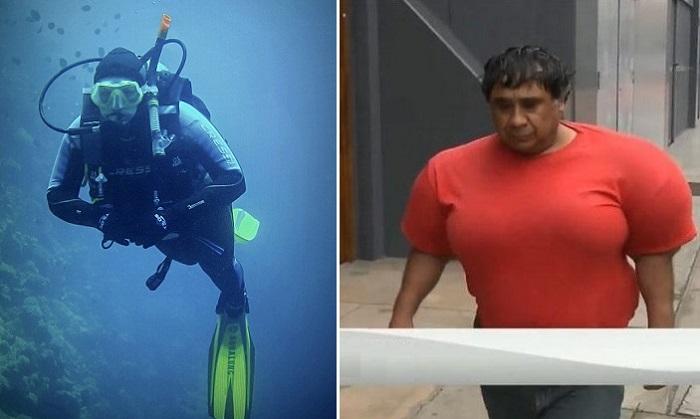 Дайвер Алехандро Рамос Мартинес, который слишком резко поднялся на поверхность с морской глубины.