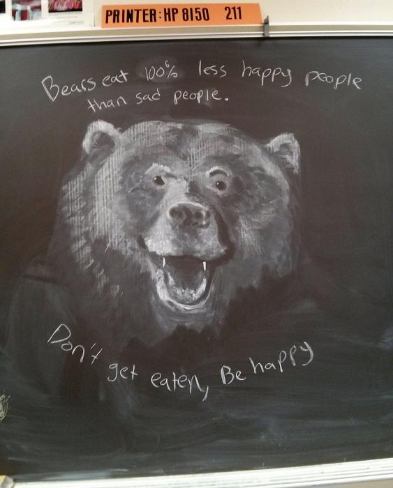 Изображение медведя, нарисованное мелом на доске.