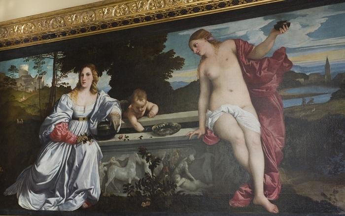 Любовь небесная и Любовь земная. Картина, размещенная в галерее Боргезе в Риме. | Фото: trip-guide.ru.