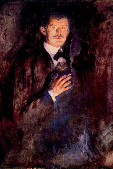 «Автопортрет с зажженной сигаретой», Эдвард Мунк.