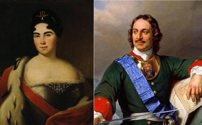 Императрица Екатерина I и император Петр I.