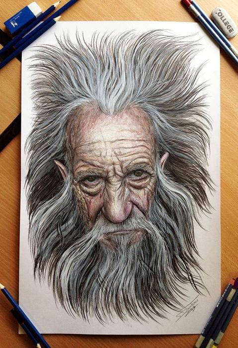 Гиперреалистичный портрет, нарисованный карандашами.