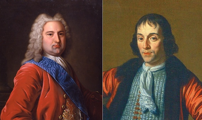 Слева: Иоганн Эрнст Бирон, справа: Александр Меньшиков