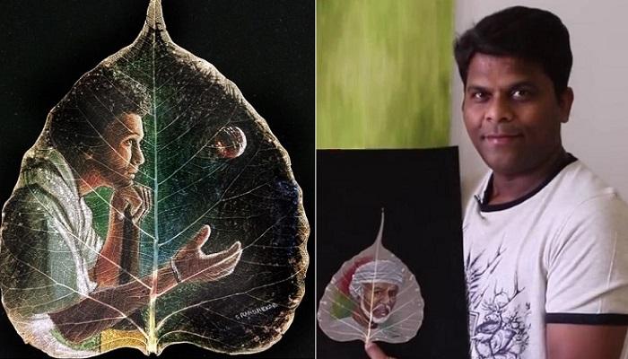 Индийский мастер создает рисунки на листьях.