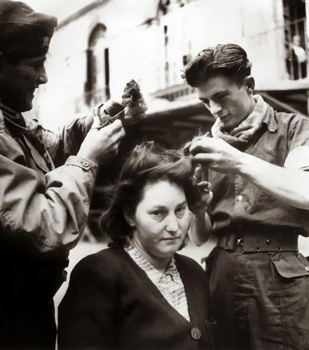 Сбриванием волос на голове клеймили француженок - пособниц нацистов.