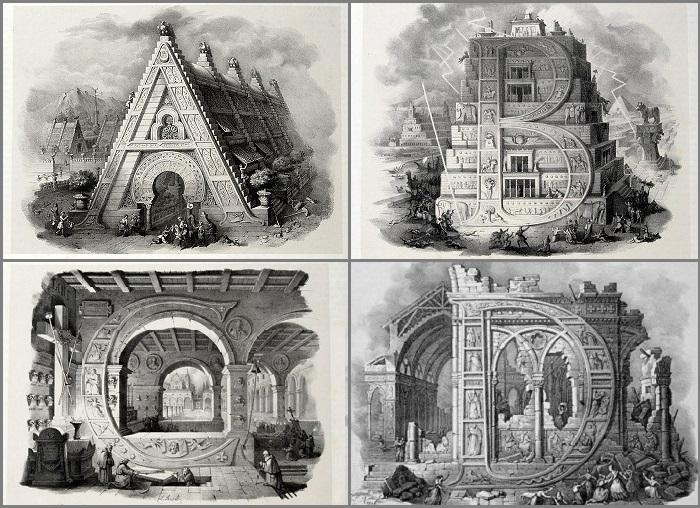 Алфавит на гравюре 19 века.