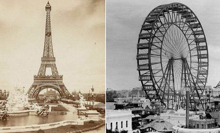 Эйфелева башня и колесо обозрения – «визитные карточки» Всемирных выставок в Париже и Чикаго.