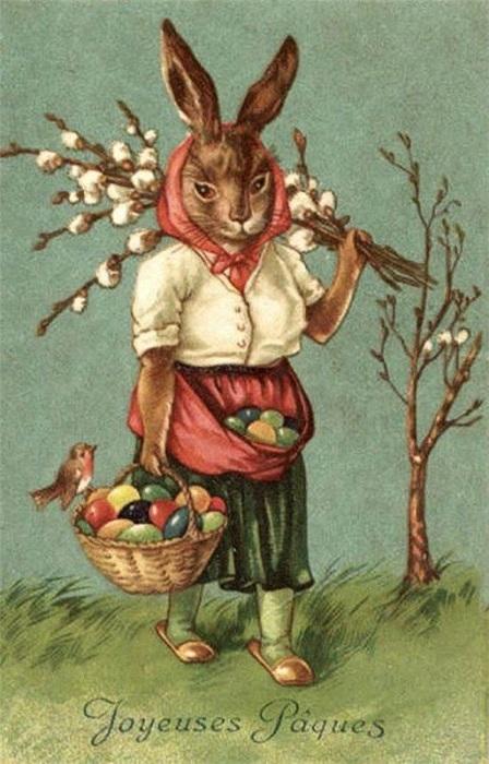 Винтажная европейская пасхальная открытка. | Фото: s-media-cache-ak0.pinimg.com.
