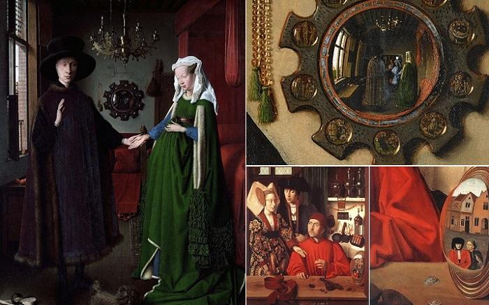 Любопытные отражения в зеркалах на картинах.