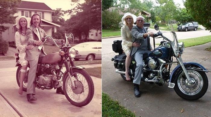 Свадебные фотографии в 1975 и в 2015 году.