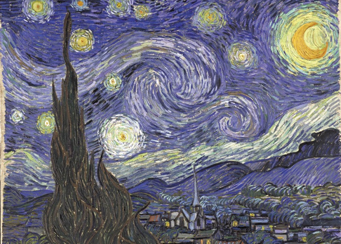 Звездная ночь. Ван Гог, 1889 год. | Фото: mentalfloss.com.
