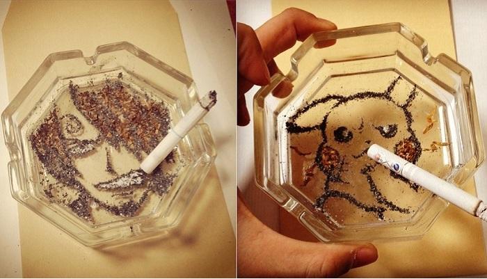 Рисунки из сигаретного пепла.