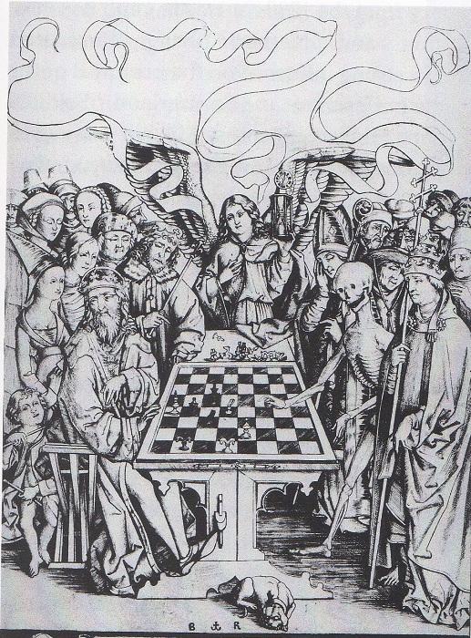 Смерть, играющая в шахматы. Исраэль фон Менекем. | Фото: s-media-cache-ak0.pinimg.com.