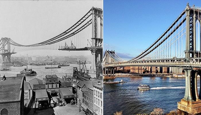 Манхэттенский мост в Нью-Йорке.