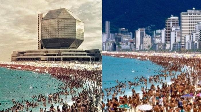 Фейковое фото (слева), пляж Копакабана (справа).