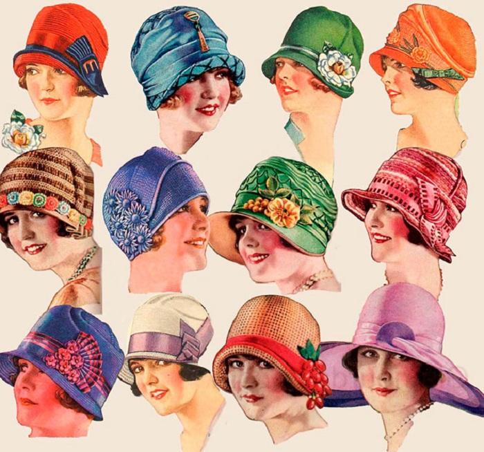 Шляпки, популярные в эпоху 1920-х годов.  Фото: izuminki.com.