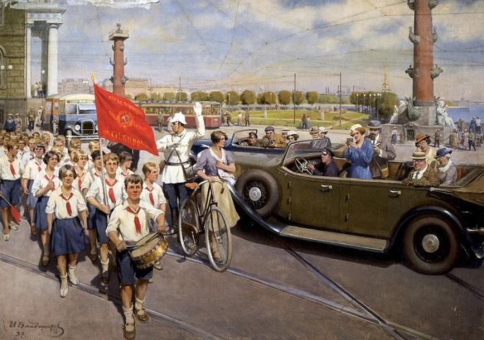 Интуристы в Ленинграде. И. Владимиров, 1937 год. | Фото: visualhistory.livejournal.com.