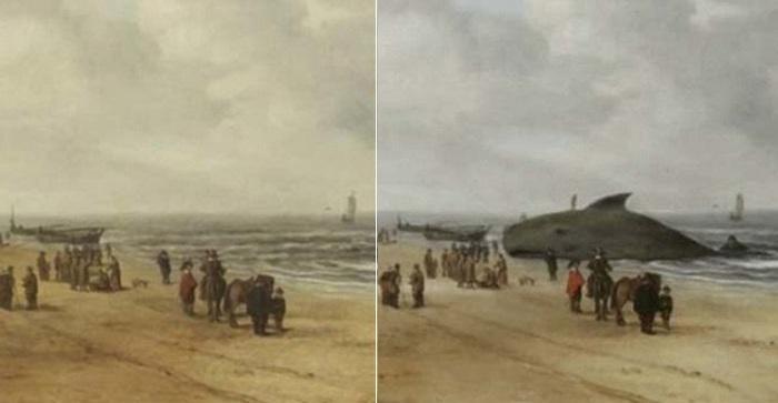 «Вид песков Схевенингена» до и после реставрации. | Фото: zvez-dec.ru.
