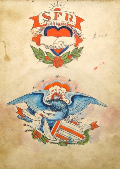 «Орел и щит» - популярная тема для татуировок, созданная Сэмюэлом О'Рейли.