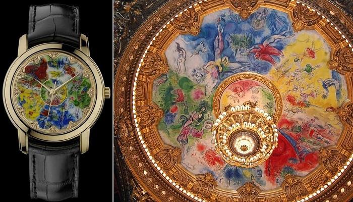 Часы Vacheron Constantin с циферблатом и потолочная роспись парижской Оперы Марка Шагала.