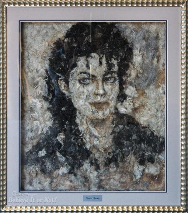 Портрет Майкла Джексона, выполненный из собачьей шерсти.