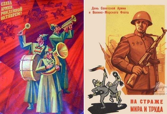 Открытки, посвященные дню Советской армии.