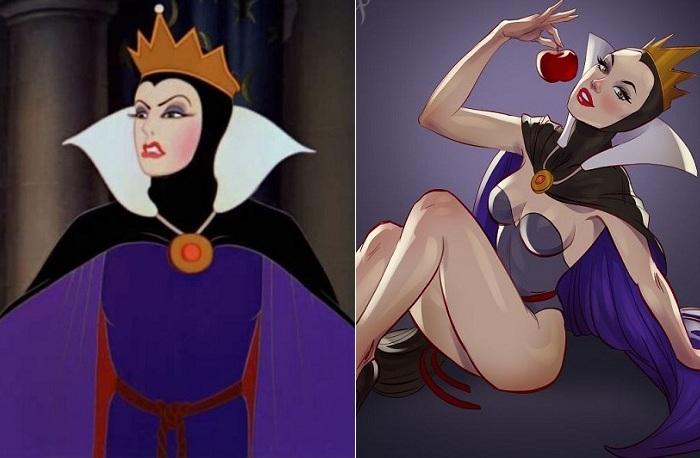 Королева из «Белоснежки» в роли  соблазнительной pin-up-красавицы.