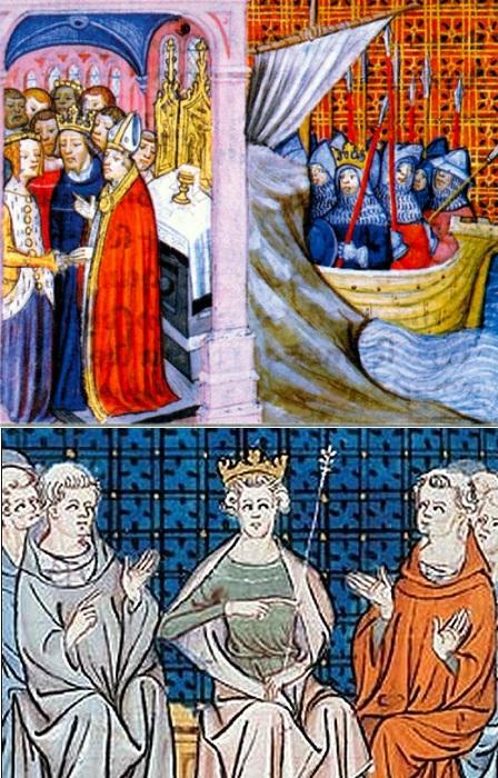 Книжные миниатюры венчания и развода Элеоноры Аквитанской и Людовика VII.