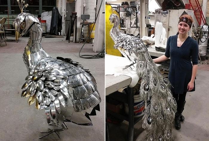 Скульптура птицы, сделанная  студенткой Liddlenomnom.