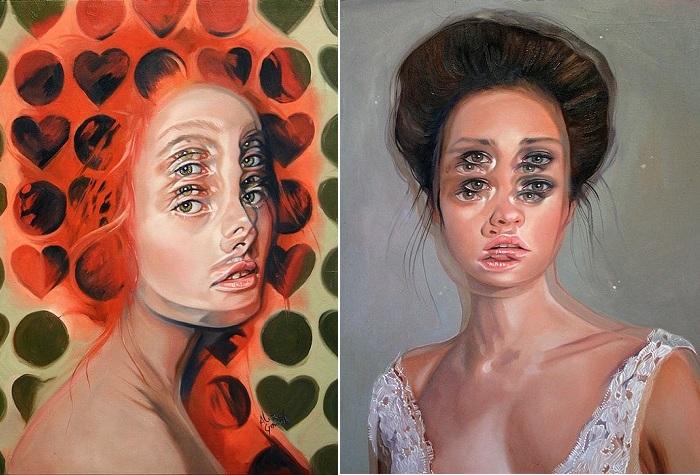 Портреты с продублированными частями лица.