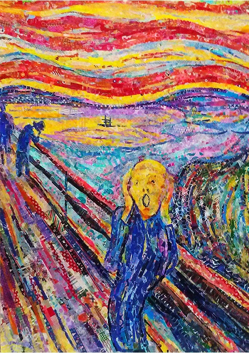 Картина «Крик» Эдварда Мунка, сделанная из кусочков клейкой ленты.