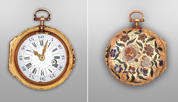 Карманные часы с золотым корпусом, инкрустированным камнями, 1770 год. | Фото: fiveminutehistory.com.