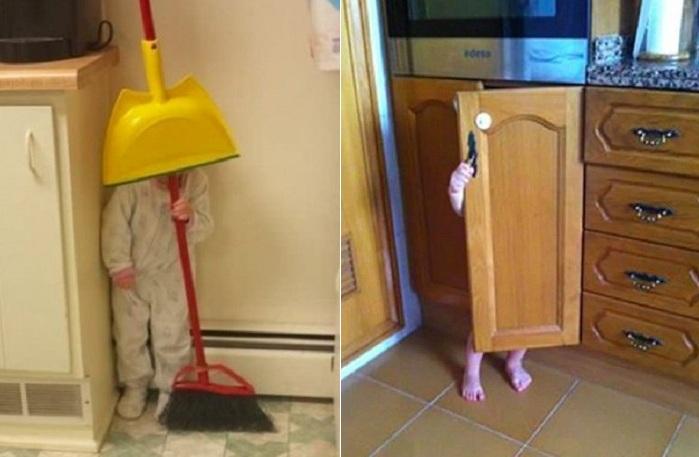 Детки за игрой в прятки.
